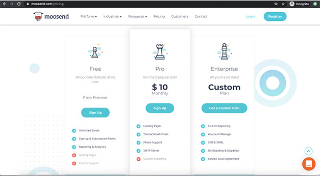 Moosend Email Marketing Pricing